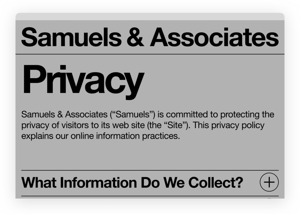 Пример страницы Privacy Policy — samuelsre.com/privacy-policy